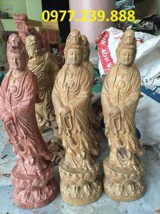 tượng quan âm đài sen gỗ bách xanh giá rẻ