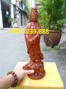 tượng quan âm đứng đài sen bằng gỗ hương đỏ