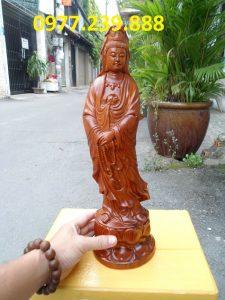 tượng quan âm đứng đài sen gỗ hương