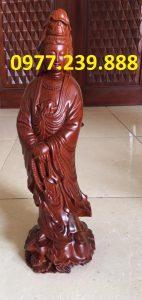 tượng quan âm đứng bằng gỗ hương đá