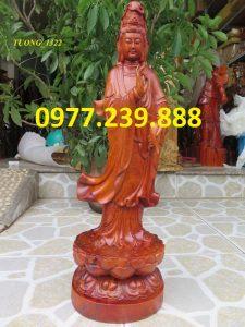 tượng quan âm đứng bằng gỗ hương