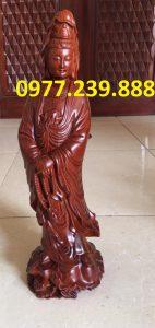 tượng quan âm đứng bằng gỗ hương giá rẻ