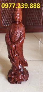 tượng quan âm đứng bằng gỗ hương nam phi