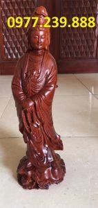 tượng quan âm đứng gỗ hương đỏ
