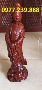 tượng quan âm đứng gỗ hương
