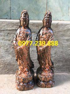 tượng quan âm đứng gỗ trắc dây
