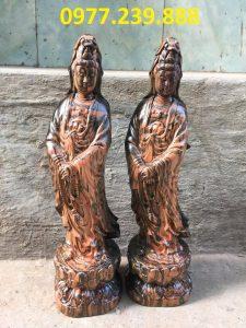 tượng quan âm đứng gỗ trắc dây 30cm
