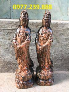 tượng quan âm đứng gỗ trắc dây 40cm
