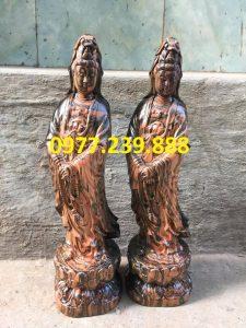tượng quan âm đứng gỗ trắc dây 50cm