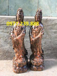 tượng quan âm đứng gỗ trắc dây 60cm