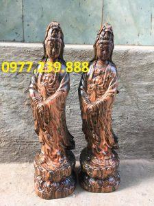 tượng quan âm đứng gỗ trắc dây 70cm