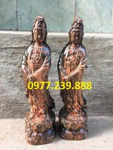 tượng quan âm đứng gỗ trắc dây giá rẻ