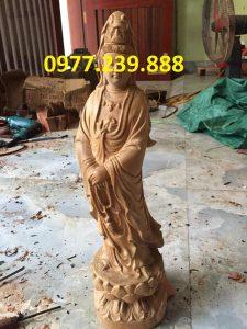 tượng quan âm bằng gỗ bách xanh