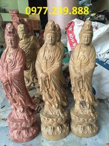 tượng quan âm bằng gỗ bách xanh cao 30cm