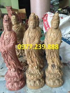 tượng quan âm bằng gỗ bách xanh cao 40cm