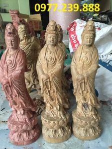 tượng quan âm bằng gỗ bách xanh cao 70cm