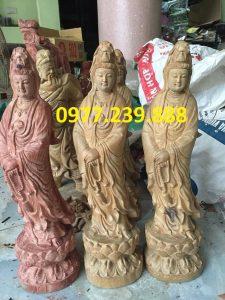 tượng quan âm bằng gỗ bách xanh cao 80cm