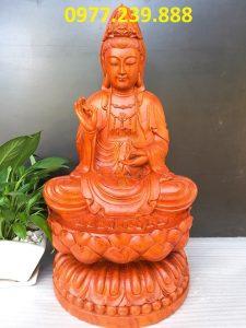 tượng quan âm bằng gỗ hương 60cm
