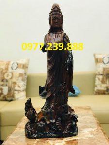 tượng quan âm bằng gỗ mun 30cm