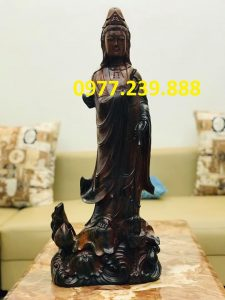tượng quan âm bằng gỗ mun 40cm