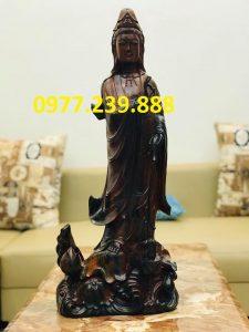 tượng quan âm bằng gỗ mun 50cm