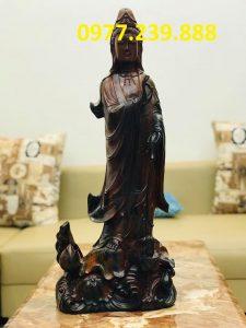 tượng quan âm bằng gỗ mun 70cm