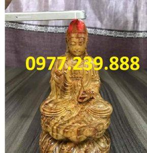 tượng quan âm bồ tát gỗ huyết long 15cm