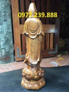 tượng quan âm gỗ bách xanh 50cm