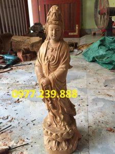 tượng quan âm gỗ bách xanh 70cm
