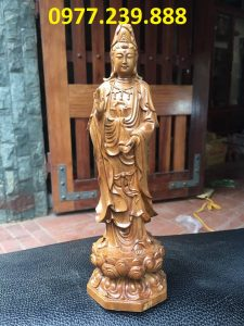 tượng quan âm gỗ bách xanh 80cm