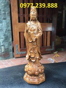 tượng quan âm gỗ bách xanh cao 40cm