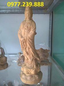 tượng quan âm gỗ bách xanh cao 50cm