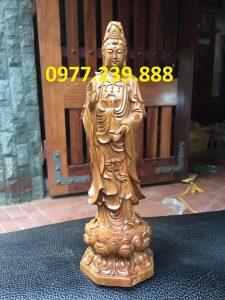 tượng quan âm gỗ bách xanh cao 60cm