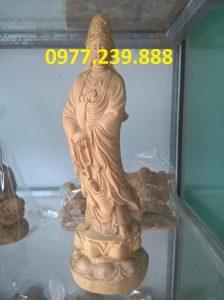 tượng quan âm gỗ bách xanh cao 70cm