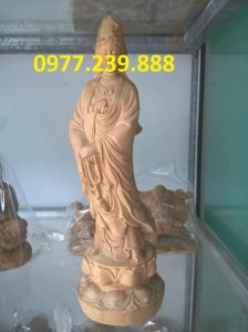 tượng quan âm gỗ bách xanh cao 80cm