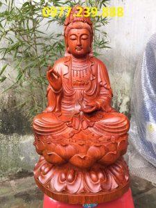 tượng quan âm gỗ hương 60cm