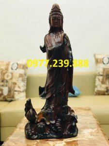 tượng quan âm gỗ mun 70cm giá rẻ