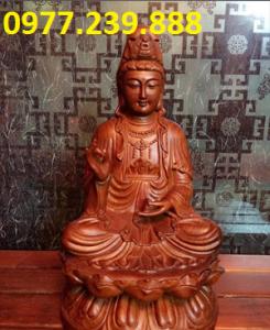 tượng quan âm ngồi đài sen bằng gỗ hương