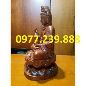 tượng quan âm ngồi đài sen gỗ hương 15cm