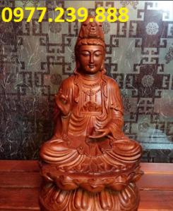 tượng quan âm ngồi đài sen gỗ hương