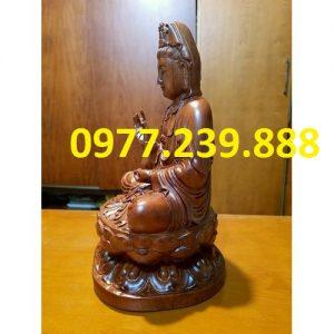 tượng quan âm ngồi đài sen gỗ hương 30cm