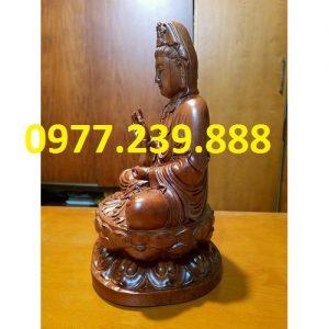 tượng quan âm ngồi đài sen gỗ hương 40cm
