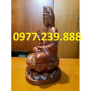 tượng quan âm ngồi đài sen gỗ hương 50cm