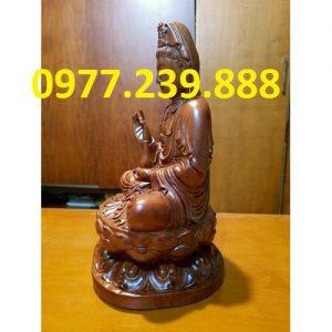tượng quan âm ngồi đài sen gỗ hương 60cm