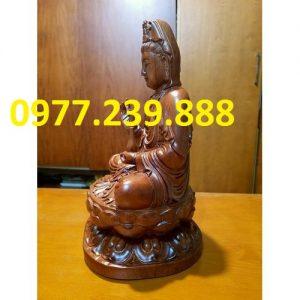 tượng quan âm ngồi đài sen gỗ hương 70cm