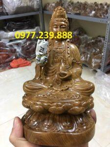 tượng quan âm ngồi gỗ bách xanh 20cm