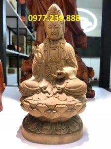 tượng quan âm ngồi gỗ bách xanh 50cm