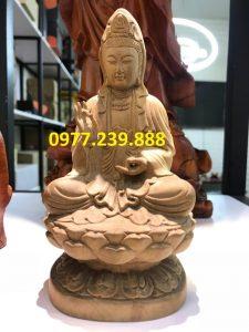 tượng quan âm ngồi gỗ bách xanh 60cm